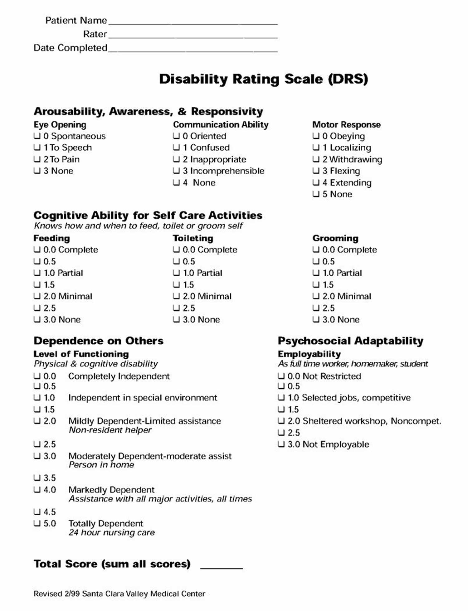 Disability rating scale